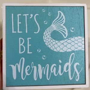 Let's Be Mermaids Light Blue & White Hanging Print